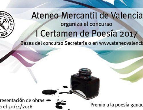 El Ateneo Mercantil de Valencia convoca el I Certamen de Poesía 2017