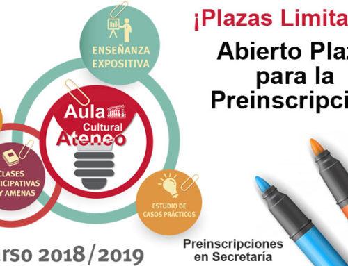 Abierto el plazo para la Preinscripción del Aula Cultural 2018-19