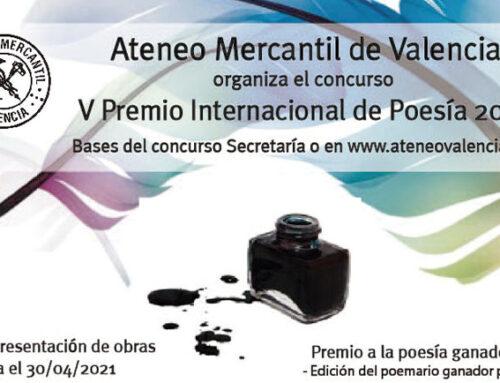 """Bases del V Premio de Poesía """"Ateneo Mercantil de Valencia 2021"""""""